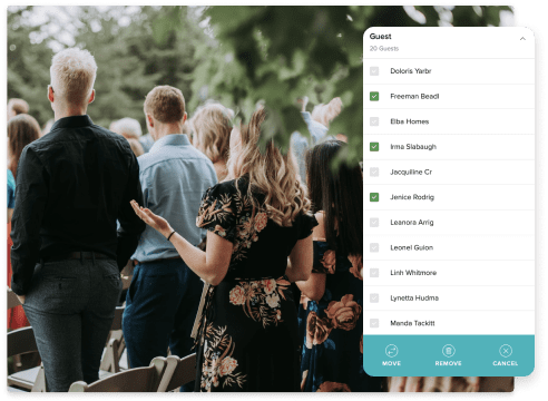 wedding guests and an editable guest list in the tool