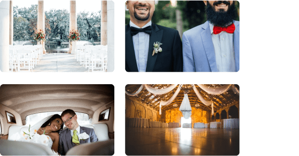 different grooms and brides and different wedding venues