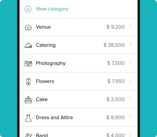 wedding vendor price tracking on the budget tool