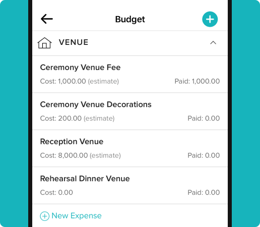 payment tracking of different wedding venue items
