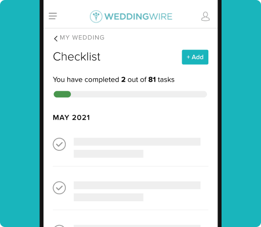 2 out of 81 wedding checklist tasks completed