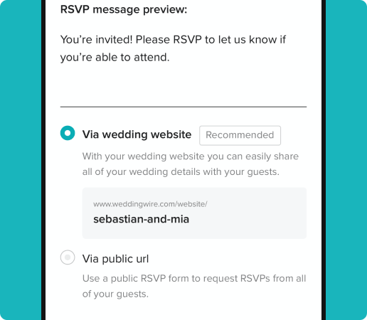 Request RSVP preview message and different sharing options