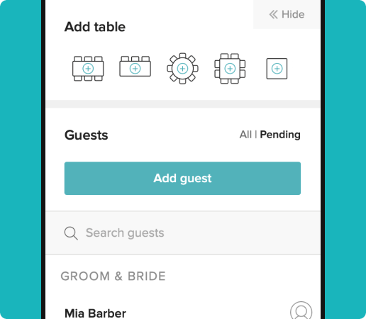 adding guests to different table configuration functionality