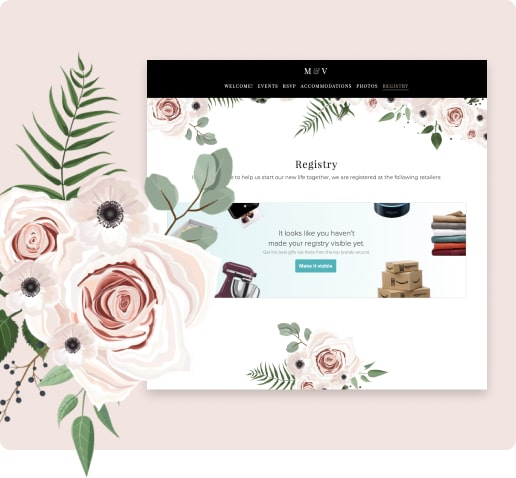 wedding registry on the wedding website