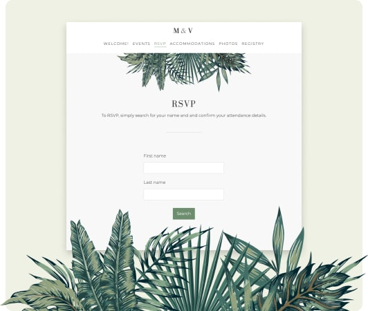RSVP functionality on the wedding website