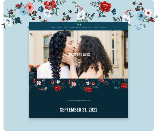 wedding website with a dark teal background and red and pink floral design